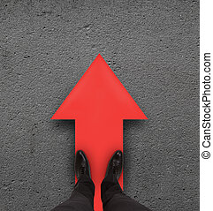 red arrow - pair of leg standing on red arrow