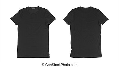 two shirt - two black t shirt front side on a white...