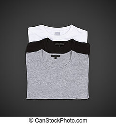 pack of tshirts  on a black background