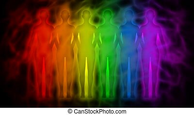 Rainbow people - rainbow silhouette - Animation of people...