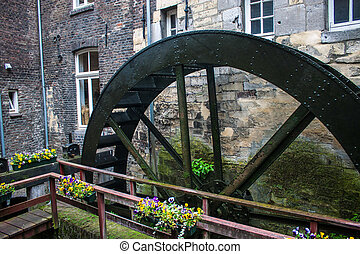 Water mill wheel in Maastricht, Netherlands