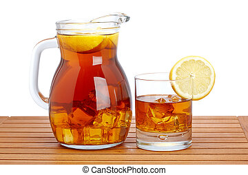 Ice tea with lemon pitcher - Ice tea pitcher and glasss with...