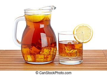 hielo, té, limón, cántaro