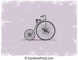 Antique bicycle in vintage vector style