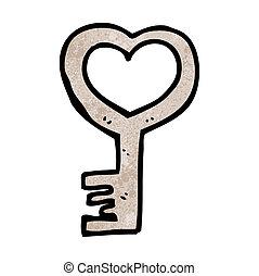 cartoon heart shaped key