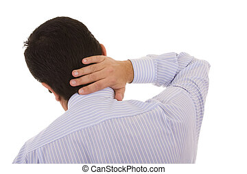 Neck pain - businessman back with a muscular pain in the...