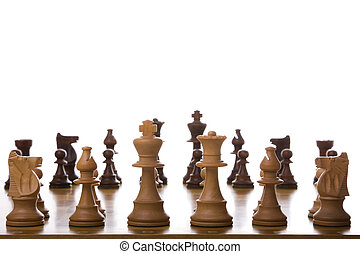 Chess pieces - close perspective of chess pieces (selective...