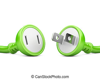 energy concept green electric plug and outlet isolated on a...