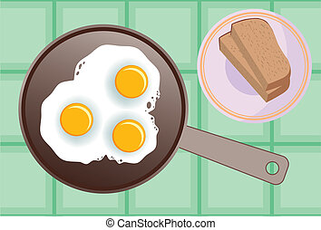 scrambled eggs - vector image of fried eggs in a frying pan