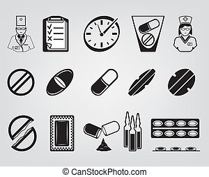 medications. set of vector icons