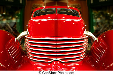 red muscle - close-up of a vintage red muscle car