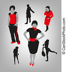 womens silhouettes - vector image of silhouettes of women in...