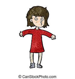 cartoon nervous woman