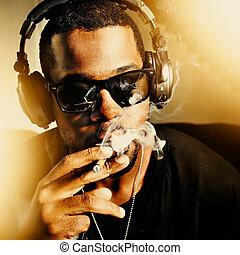 fresco, africano, hombre, Fumar, coyuntura, Llevando,...