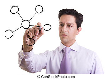 organization chart - businessman drawing a organization...
