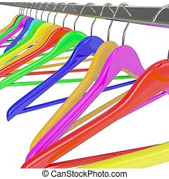 color hangers - Row of color rainbow coat hangers on metal...