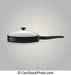 Illustration of skillet - Black skillet with a transparent...