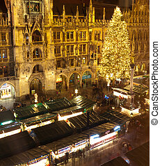 Aerial image of Munich with Christmas Market, Germany
