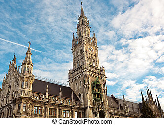 New city hall at Marienplatz Munich, Germany
