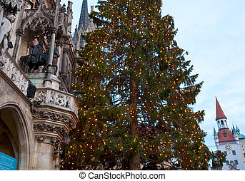 The Marienplatz in Munich with tree christmas, Germany.