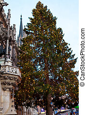 The Marienplatz in Munich with tree christmas, Germany