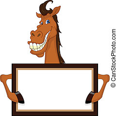 cute horse cartoon with blank sign illustration