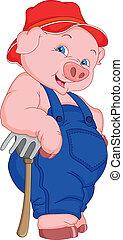 funny pig cartoon illustration