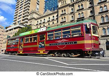 Melbourne, město, kruh, tramvaj