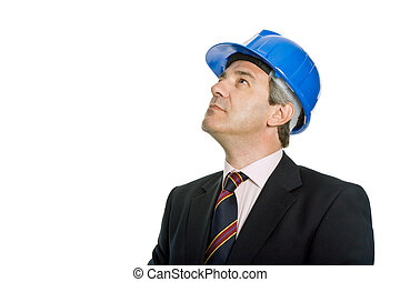 wondering - An engineer with blue hat, isolated on white