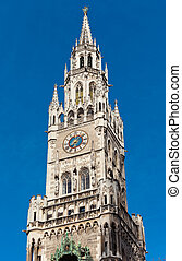 Top of Munich city hall bell tower in Bavaria, Germany