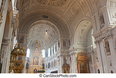 Interior of the St. Michael Church in Munich, Germany