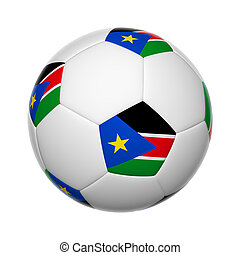 South Sudan soccer ball - Flags on soccer ball of South...