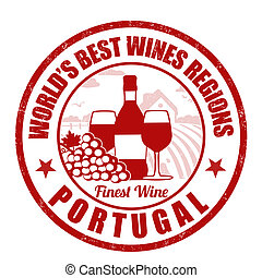 Portugal, finest wine grunge rubber stamp on white...