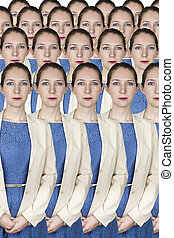 Group of identical business women wearing blue dress and...