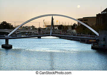 Southbank Foot Bridge - Melbourne - MELBOURNE, AUS - APR 14...