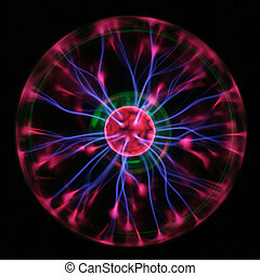 physics - Purple plasma lightnings drawing from center to...