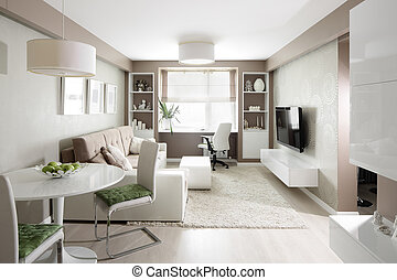 bright interior of living room - big and bright interior of...