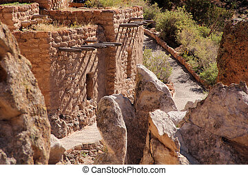 Bandelier National Monument - Pueblo Ruins in Bandelier...