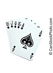 Royal Flush - playing cards isolated on a white background