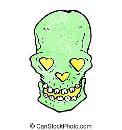 cartoon skull with love heart eyes