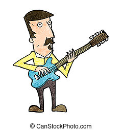 cartoon man playing electric guitar