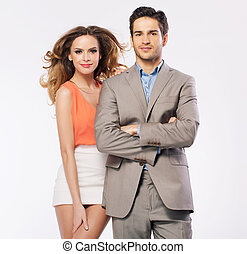 Attractive young woman with her handsome boyfriend -...