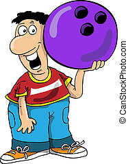 Bowling - The person plays bowling, smiles and holds a...