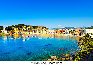 Sestri Levante silence bay or Baia del Silenzio sea harbor...