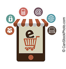 E commerce design - E-commerce design over white background,...