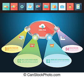 Abstract light 3D Infographic with flat icons. Vector...