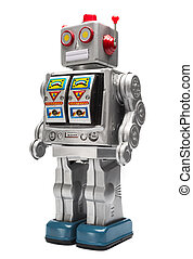 Toy tin robot - Toy tin silver robot isolated on white