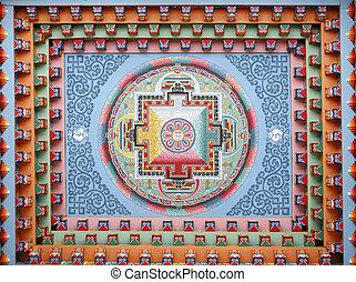 Tibetan mandala painting on monestery ceiling, Upper Pisang,...