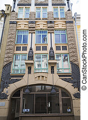 Art Nouveau building, Tallinn - Tallinn, Estonia - 31 August...