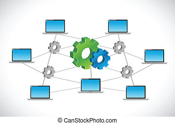 industrial computer tech network illustration